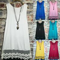 Plus Size Womens Lace Crochet Tunic Vest Tank Top Sleeveless Summer T-Shirt Tops