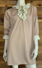 Vintage Brown Size Medium Nightgown with Ivory Lace Trim #11065