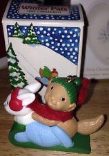 Avon Christmas Tree Ornament WINTER PALS Squirrel & Rabbit On Sleigh 1984