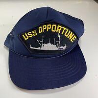 Vintage US Navy USS Opportune ARS-41 Mesh Snapback Hat USN BROKEN SNAP!!
