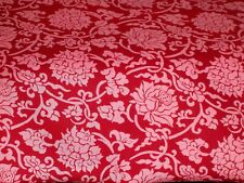 2 1/4 yards Quilt / Sewing Fabric Pink Carnations Flowers on Red