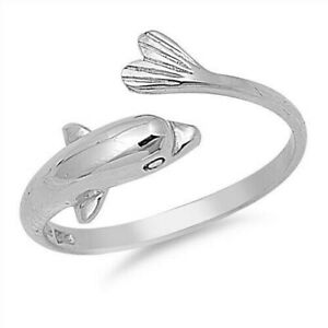 Dolphin Band Toe Ring Genuine Sterling Silver 925 Height 8 mm Rhodium Plated