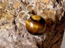 SINGLE STERLING SILVER 6mm. BALL STUD EARRING WITH TIGERS EYE STONE £3.95 NWT