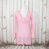 MELISSA ODABASH Women's Vneck Tunic Coverup Hand Embroidered Pink Sheer Size 1