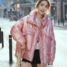 New Women Wet Look Puffer Coat Jacket Loose Metallic Shiny Padded Outwear Parka