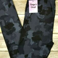 PLUS Camo Leggings Black Charcoal Navy Camouflage Print Buttery Soft 10-18 TC