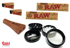 Raw Double Barrel Smoking Bundle Set Raw Rolling Papers Grinder Raw Tips Set