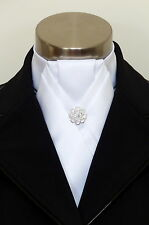 "ERA  ""Alex""  White Satin Stock tie with  Pleated Centre & Silver Pin"
