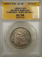 1859-O Seated Liberty Silver Half Dollar 50c Coin ANACS AU 58 Damaged