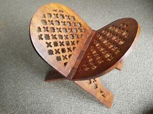 Folding Wooden Carved Magazine Stand, Indian Sheesham Jali In A Medium Finish
