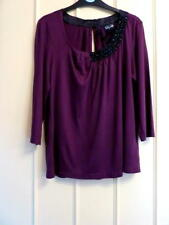 BNWT PER UNA SPEZIALE  Plum Red Beaded Top Day/Evening. 3/4 sleeve SIZE 14 - £35
