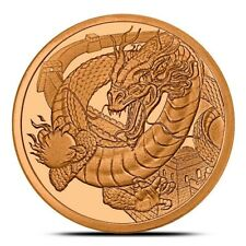 Chinese Dragon BU 1 oz Copper Coin, 2019 World Of Dragons Series #3, USA