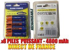 8 Piles AA 4800mAh Rechargeable Mignon LR6 1.2V Ni-Mh  TRES PUISSANT - DE FRANCE