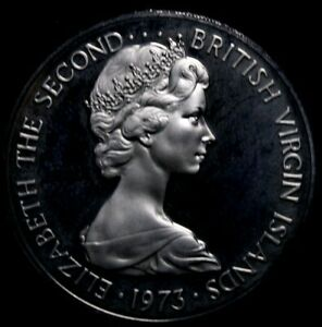 1973 British Virgin Islands 5 Cents Proof  About the Size of US Half 53-207