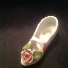 Vintage Ceramic White Shoe With Flowers Made In Germany