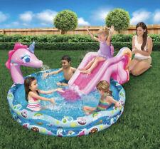 Banzai Spray 'N Splash Unicorn Inflatable 60� Pool & Water Slide New Fast Ship