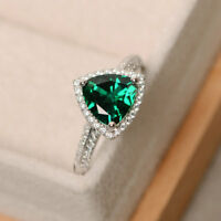 2.10 Ct Trilliant Cut Real Diamond Emerald Gemstone Band 14K White Gold Rings
