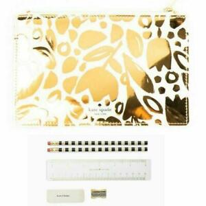Kate Spade Women's Gold Floral-Print Slim Top Zip Pencil Pouch Case with Supplie