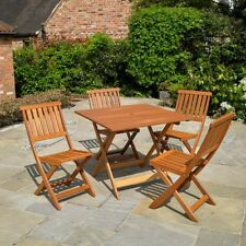 5PC GARDEN WOODEN FURNITURE SET OUTDOOR PATIO DINING FOLDING TABLE & CHAIRS