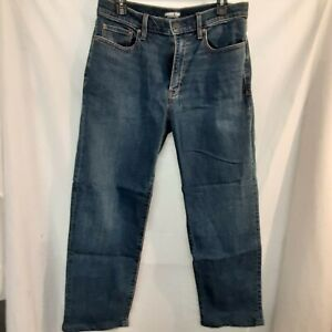 Lands End Square Rigger Men's Traditional Fit Straight Blue Denim Jeans Size 32