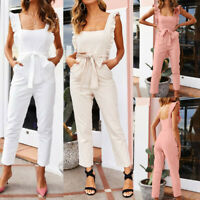 Women Linen Shirred Frill Sleeves Pockets Jumpsuit Ladies Belted Summer Holiday