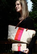KATE SPADE HARMONY CLASSIC CANVAS TOTE TAN NEUTRAL SMALL COAL & WALLET SET LOT 2