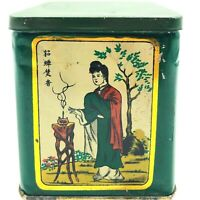 Vintage Chinese Tea Tin Scenic Litho Lidded Also Has Inside Lid Seal Very Rare