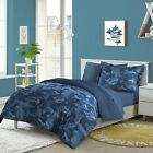 Dream Factory Geo Camo 7-piece Bed in a Bag with Sheet Set Blue Camouflage Full