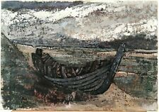 EARLY 20TH CENTURY FRENCH IMPRESSIONIST OIL CANVAS BOAT BEACH ANTIQUE PAINTING