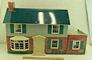 Vintage 1950s Marx Metal Tin Litho Dollhouse Suburban Colonial w/ Furniture