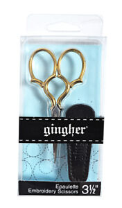 Gingher 3 1/2 Inch Goldhandle Epaulette Embroidery Scissors