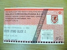 Tickets- FIFA World Cup 1994 Qualifying- WALES v CZECHOSLOVAKIA R.C.S, 8/9/1993