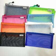 Transparent Student Pen Pencil Case Nylon Mesh Portable Pouch Makeup Bag US Sold