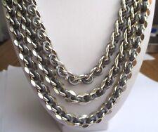 Superbe collier ancien bijou vintage chaîne 3 rangs bicolore gris argent P