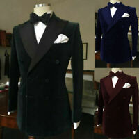 Men's Prom Dinner Blazer Suit Double-breasted Groom Wedding Tuxedos Peak Lapel