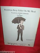 JOHNNY FARNHAM Raindrops keep fallin on my head 1969 AUSTRALIA Sheet Music