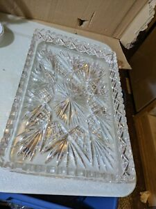 Lead Crystal Glass Serving Platter Tray