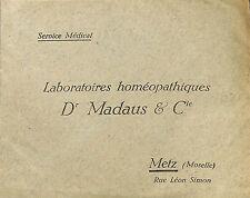 57 METZ ENVELOPPE LABORATOIRES HOMEOPATHIQUES DOCTEUR MADAUS 1938