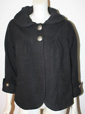 TASHA POLIZZI Black Fleece Jacket Silver Turqouise Concho Buttons S Gathered Col