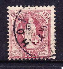 Suiza 1882/99 1fr Claret p111/2x12 f/u descentrada Wmk 8a sg160. Gato £ 375