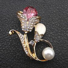 Flower Betsey Johnson Brooch Pin Women's Pink Clear Crystal Opal Tulip