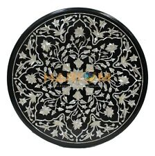 """18"""" Marble Side Table Top Mother of Pearl Inlay Floral Mosaic Outdoor Decor B210"""