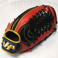 "HATAKEYAMA 13"" Black/Red/Gold Leather RHT T-Web Outfield Baseball Glove"