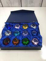 Vtg Box Of 12/Box Glass Diamond Shape Jewelry Paperweight 30m Mix Color Gift USA