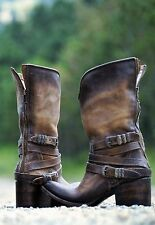 FREEBIRD BY STEVEN HOBO HIPPY PIKES WESTERN RIDING LEATHER BOOTS NATURAL 7 NIB