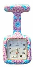 Nurses Fashion Coloured Patterned Silicone Rubber Fob Watches (Square Swirl)