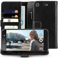 Genuine Leather Wallet Case For Sony Xperia XZ1 Compact License Slot Flip Cover