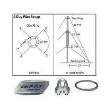 """30' ft 4 Way Down Guy Wire Kit w/ 30"""" Anchors for Telescoping Antenna Masts"""