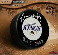 """LARRY MURPHY Signed Los Angeles Kings Puck Inscribed """"H.O.F 2004"""""""