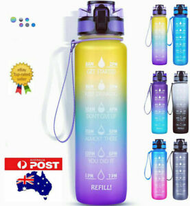 1L Water Bottle Motivational Drink Flask With Time Markings BPA Free Sport Gym